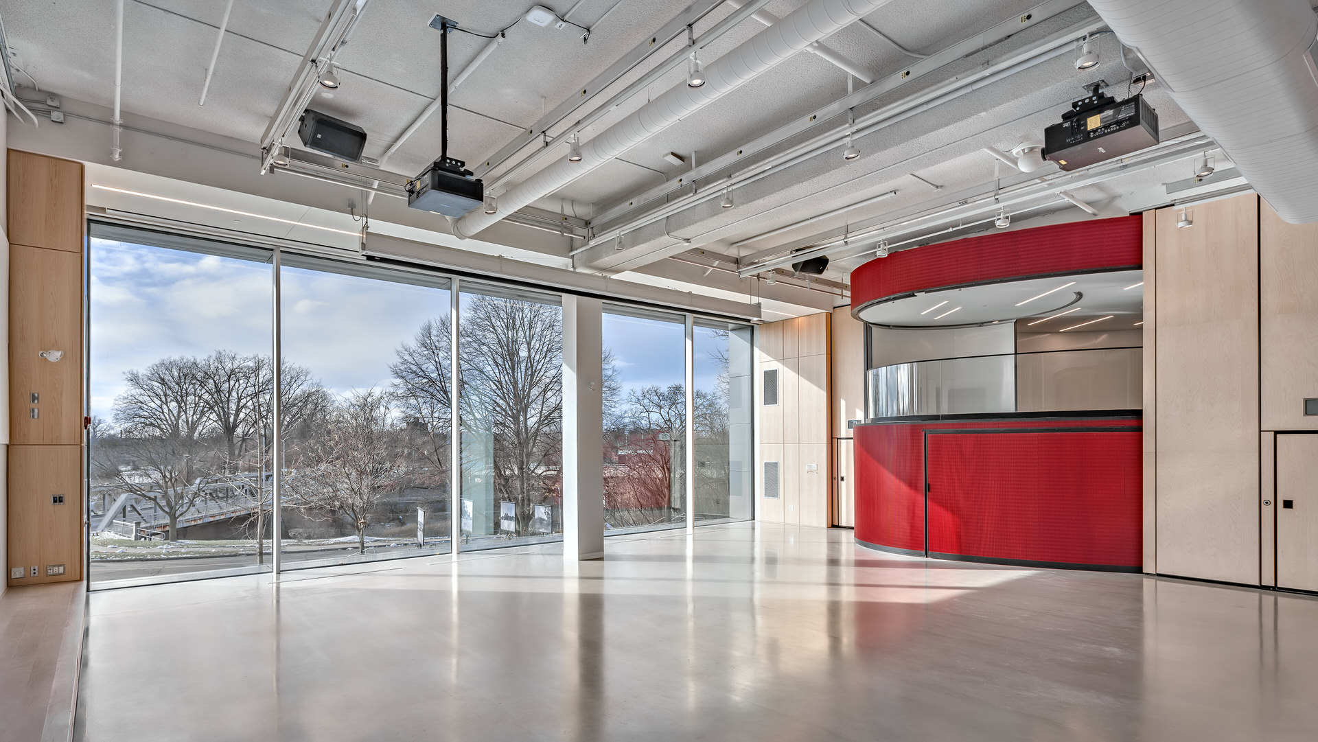 View out the 2-storey windows while in renovated space of Museum London