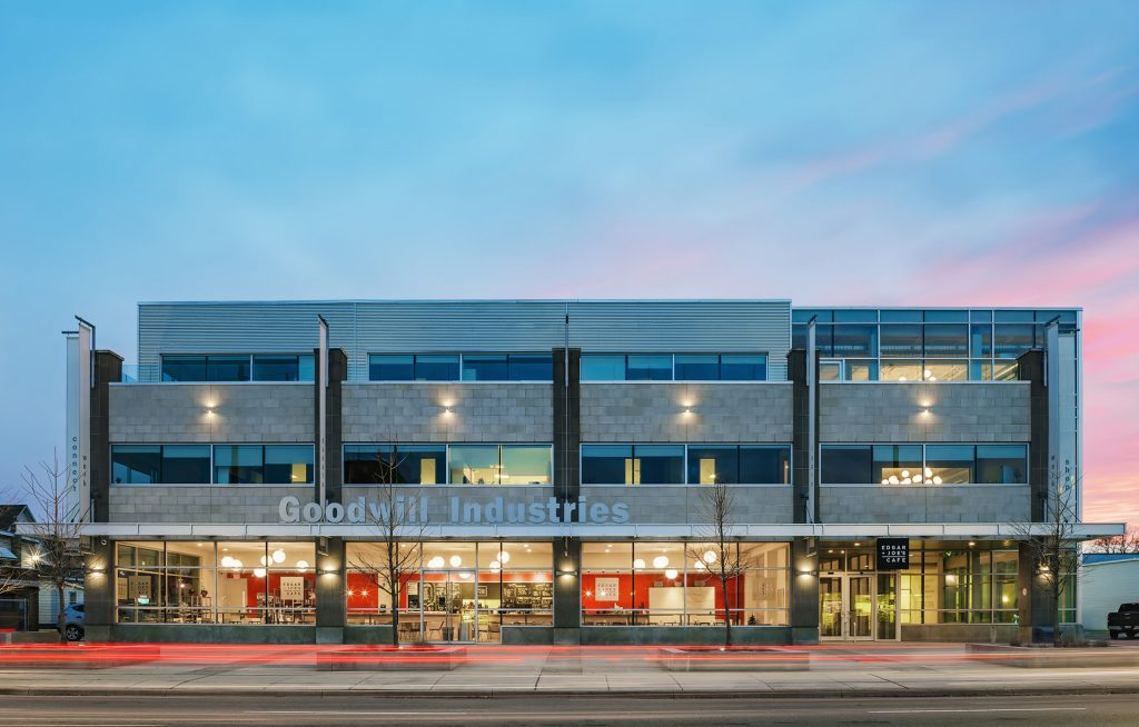 Twilight Architectural Photo of Goodwill Industries, downtown Location