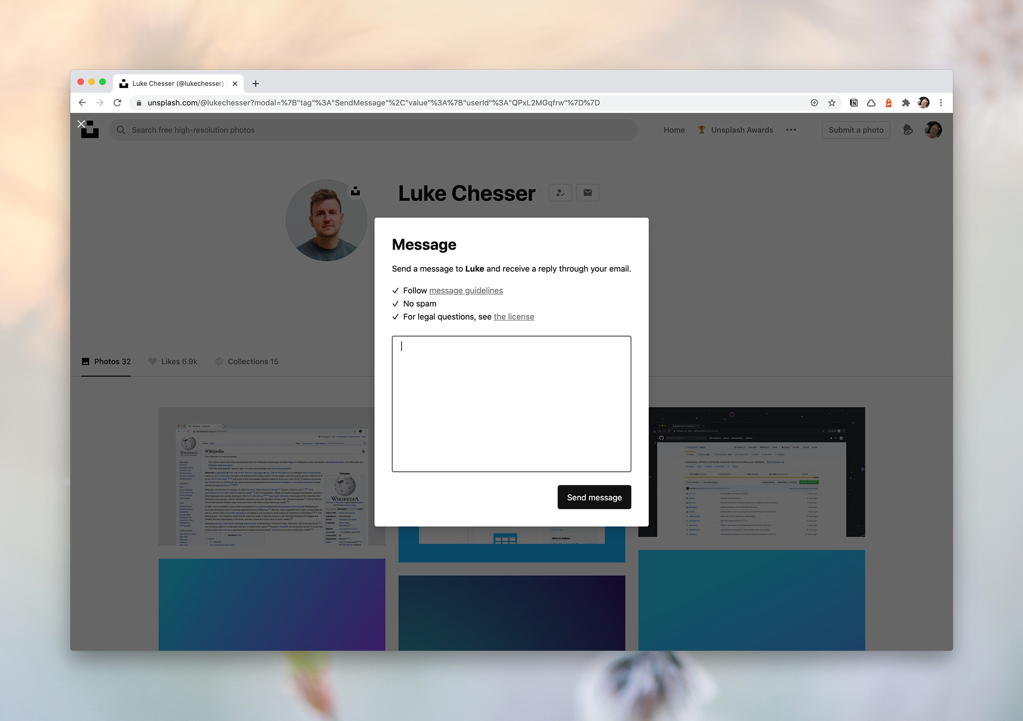 how to make money on Unsplash using the Using the Unsplash message feature