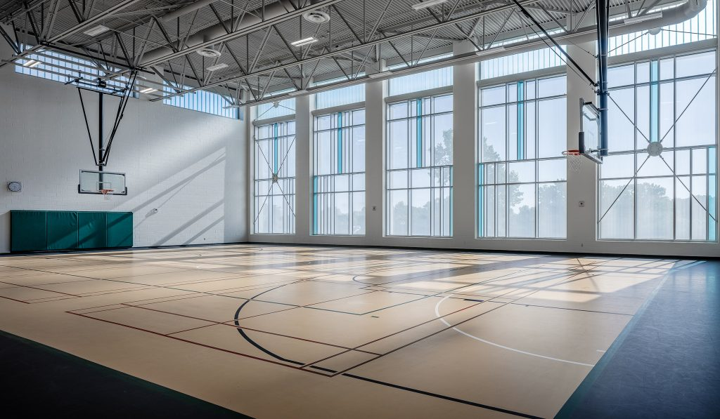 Interior photography of Western Student Recreation Centre Gym Addition