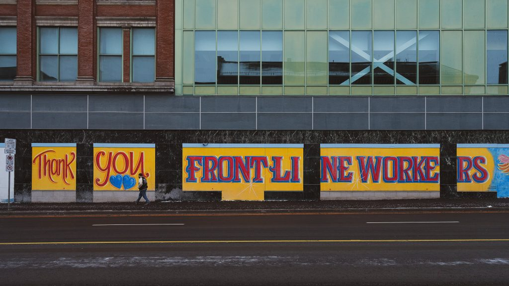 Downtown London, looking across richmond street at art for frontline workers