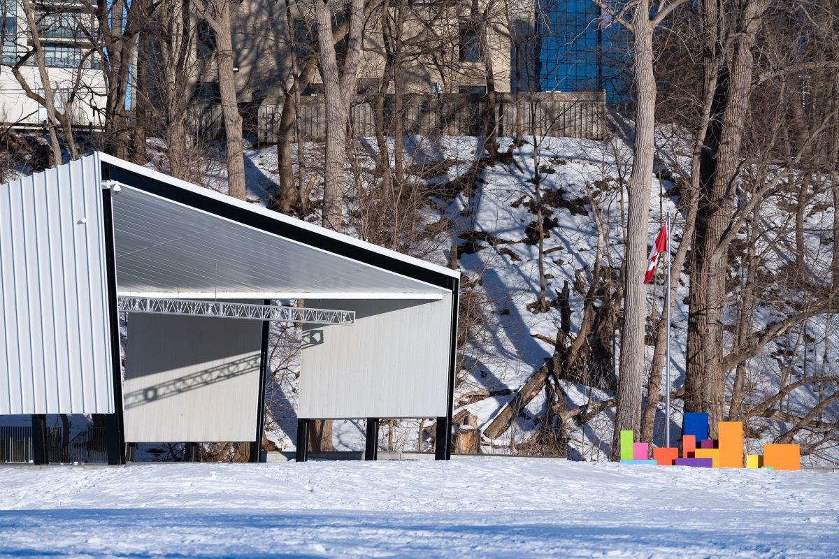 Winter photo of the Canada Pavilion in Harris Park London Ontario Canda